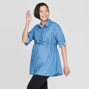 Isabel Maternity Chambray Jean Button Up Tunic